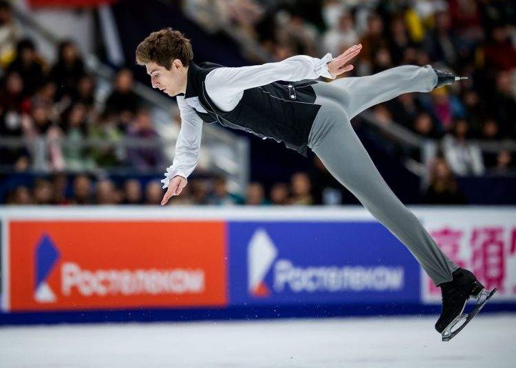 MOSCOW, RUSSIA - NOVEMBER 17: Moris Kvitelashvili of Georgia competes in the Men's Free Skating during day 2 of the ISU Grand Prix of Figure Skating, Rostelecom Cup 2018 at Arena Megasport on November 17, 2018 in Moscow, Russia. (Photo by Joosep Martinson - International Skating Union (ISU)/ISU via Getty Images)